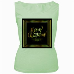 Christmas Gold Black Frame Noble Women s Green Tank Top