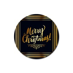 Christmas Gold Black Frame Noble Rubber Coaster (Round)