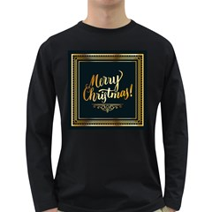 Christmas Gold Black Frame Noble Long Sleeve Dark T-Shirts