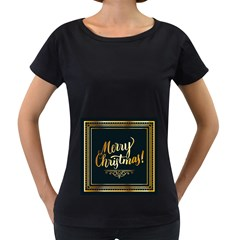 Christmas Gold Black Frame Noble Women s Loose-Fit T-Shirt (Black)