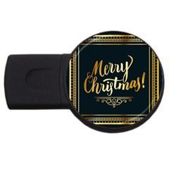 Christmas Gold Black Frame Noble USB Flash Drive Round (4 GB)