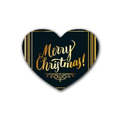 Christmas Gold Black Frame Noble Heart Coaster (4 pack)