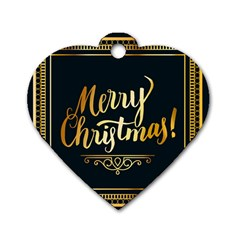 Christmas Gold Black Frame Noble Dog Tag Heart (Two Sides)