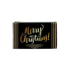 Christmas Gold Black Frame Noble Cosmetic Bag (Small)