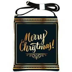 Christmas Gold Black Frame Noble Shoulder Sling Bags