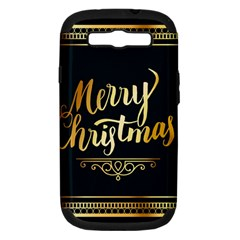 Christmas Gold Black Frame Noble Samsung Galaxy S III Hardshell Case (PC+Silicone)