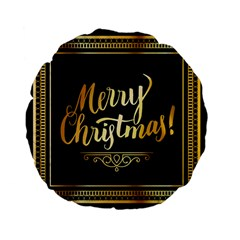 Christmas Gold Black Frame Noble Standard 15  Premium Flano Round Cushions