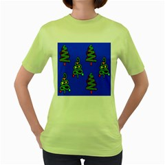 Christmas Trees Women s Green T-Shirt