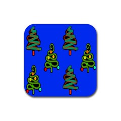 Christmas Trees Rubber Coaster (Square)