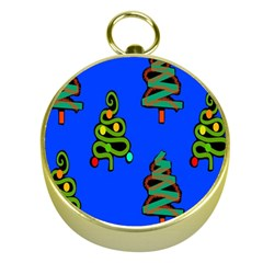 Christmas Trees Gold Compasses