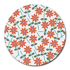 Clipart Floral Seamless Flower Leaf Round Mousepads