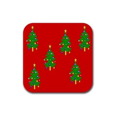 Christmas Trees Rubber Square Coaster (4 pack)