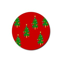 Christmas Trees Rubber Coaster (Round)