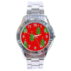 Christmas Trees Stainless Steel Analogue Watch