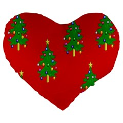 Christmas Trees Large 19  Premium Heart Shape Cushions
