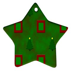 Christmas Trees And Boxes Background Ornament (Star)