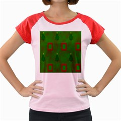 Christmas Trees And Boxes Background Women s Cap Sleeve T-Shirt