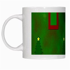Christmas Trees And Boxes Background White Mugs