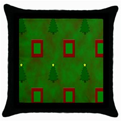 Christmas Trees And Boxes Background Throw Pillow Case (Black)