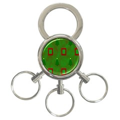 Christmas Trees And Boxes Background 3-Ring Key Chains