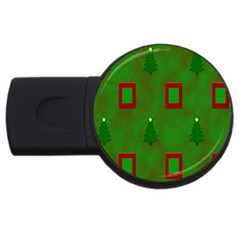 Christmas Trees And Boxes Background USB Flash Drive Round (2 GB)
