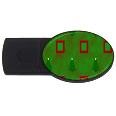 Christmas Trees And Boxes Background USB Flash Drive Oval (1 GB)