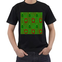 Christmas Trees And Boxes Background Men s T-Shirt (Black) (Two Sided)