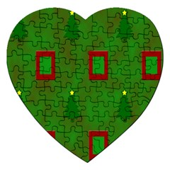 Christmas Trees And Boxes Background Jigsaw Puzzle (Heart)