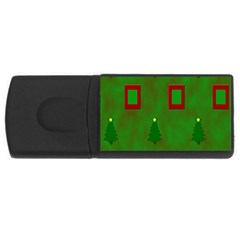 Christmas Trees And Boxes Background USB Flash Drive Rectangular (4 GB)