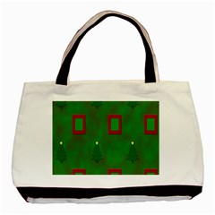 Christmas Trees And Boxes Background Basic Tote Bag