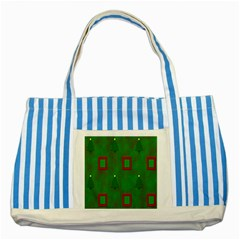 Christmas Trees And Boxes Background Striped Blue Tote Bag