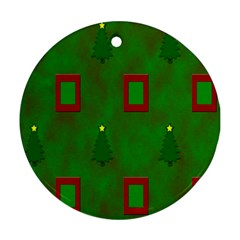 Christmas Trees And Boxes Background Round Ornament (Two Sides)