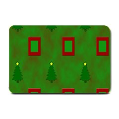 Christmas Trees And Boxes Background Small Doormat