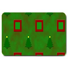 Christmas Trees And Boxes Background Large Doormat