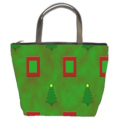 Christmas Trees And Boxes Background Bucket Bags
