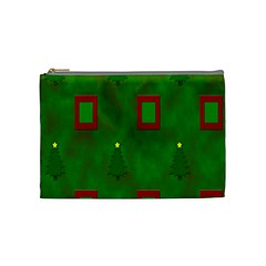 Christmas Trees And Boxes Background Cosmetic Bag (Medium)