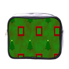 Christmas Trees And Boxes Background Mini Toiletries Bags
