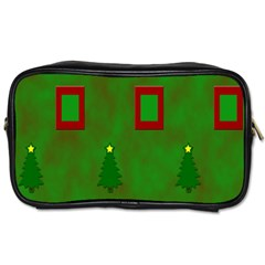 Christmas Trees And Boxes Background Toiletries Bags