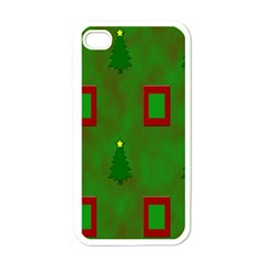 Christmas Trees And Boxes Background Apple iPhone 4 Case (White)