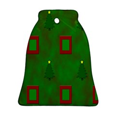Christmas Trees And Boxes Background Ornament (Bell)