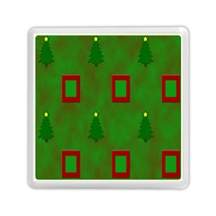 Christmas Trees And Boxes Background Memory Card Reader (Square)