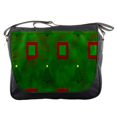 Christmas Trees And Boxes Background Messenger Bags