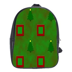 Christmas Trees And Boxes Background School Bags (XL)
