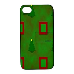 Christmas Trees And Boxes Background Apple iPhone 4/4S Hardshell Case with Stand