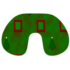 Christmas Trees And Boxes Background Travel Neck Pillows