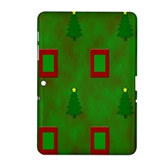 Christmas Trees And Boxes Background Samsung Galaxy Tab 2 (10.1 ) P5100 Hardshell Case