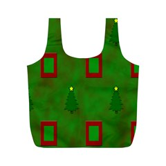 Christmas Trees And Boxes Background Full Print Recycle Bags (M)