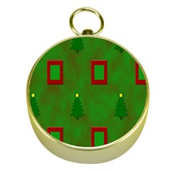 Christmas Trees And Boxes Background Gold Compasses