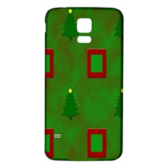 Christmas Trees And Boxes Background Samsung Galaxy S5 Back Case (White)
