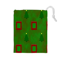 Christmas Trees And Boxes Background Drawstring Pouches (Large)